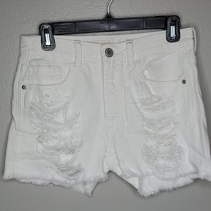 AE white ripped hi rise button fly shortie…